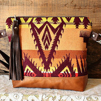 Oregon wool purse bag handbag messenger Navajo look Fall Colors -- Ready to Ship--