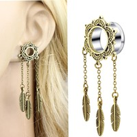 JUNLOWPY 2pcs Steel Helix Dangle Ear Plugs and Tunnels Dream Catcher Piercing Earring Gauges Strecher Body Jewelry Woman Oreja