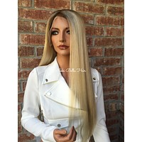 Light Ash Blond Balayage Remy Human Hair Full Lace Wig - Ginger