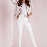 Missguided - Vice High Waisted Skinny Jeans White