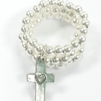 Silver Cross Beaded Stretch Ring Stackable Adjustable (4-7) Handmade Beaded Ring