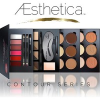 Aesthetica Cosmetics Contour Series - Contouring and Highlighting Library Set - Includes Aesthetica Cream, Powder, Brow & Lip Contour Kits - Suitable for All Skin Tones - Vegan & Cruelty Free