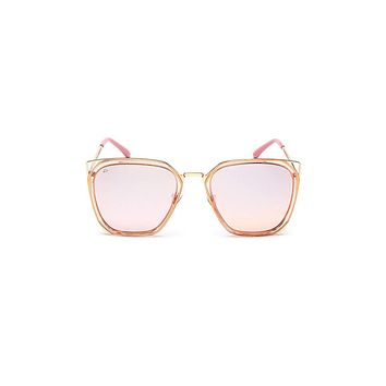 The Queen Geometric Square Polarized Sunglasses - Pink