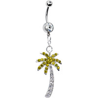 Clear Gem Jeweled Palm Tree Belly Ring   Body Candy Body Jewelry