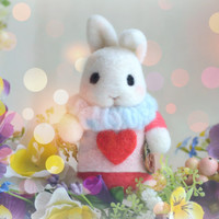 Alice in Wonderland White Rabbit doll with shadow box, needle felted bunny with flowers diorama, spring home decor, kids gift, gift under 50