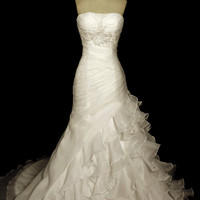 Hand Made Organza Ruffled Skirt with Asymmetrical Multi Lined Waist Part and Light Embroidery on the Bust Part A-Line Wedding Dress