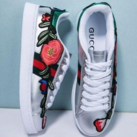 THE Gucci Fashion Flower Embroidery Old Skool Sneakers Sport Shoes