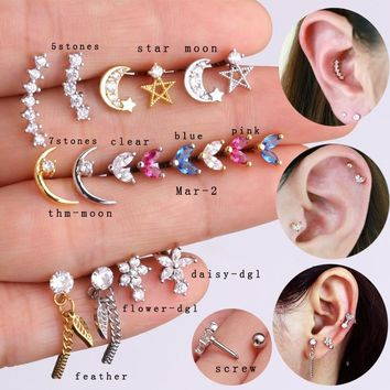 1 Piece Five Or Seven Cz Moon Piercing