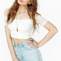 Layla Lace Crop Top - Ivory