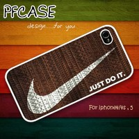 Nike JUST DO IT with wood aztec pattern : Handmade Case for Iphone 4/4s , Iphone 5 Case Iphone