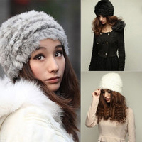 1pc Womens Ladies Nice Winter Warm Fashion Faux Rabbit Fur Knitted Hat Cap Hot = 1931623748