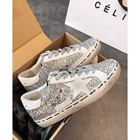 Golden Goose Ggdb Hi Star Sneakers With Glitter, White Star And White Heel Tab