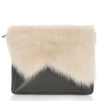 Premium Shearling Clutch - Natural