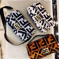 Fendi new BAGUETTE double F letter cashmere baguette bag handbag shoulder slung bag