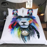 Hippy Lion by Pixie Cold Art Bedding Set Hippie Animal Printed Duvet Cover Watercolor Tribal Bed Set Peace Colorful Bedclothes