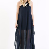 Chase Me Chiffon Halter Dress in Navy