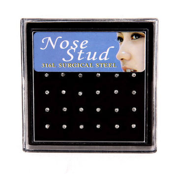 2017 hot sale Nose Ring Fashion Body Jewelry Nose Studs Stainless Surgical Steel Nose Piercing Crystal Stud