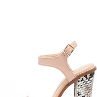 Promenade Nude and Snakeskin Ankle Strap Heels