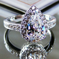Art Deco 3 Ct Pear Cut lab made Diamond Engagement Wedding Cocktail Ring with gift box - made to order