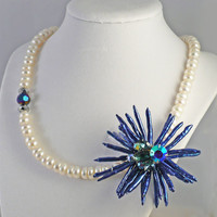 Blue Biwa Stick Pearl Flower Pendant on White by BellaSweetJewelry
