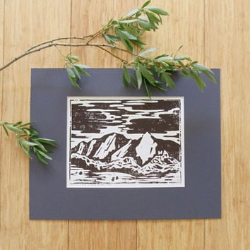 boulder flatirons wood block print // mountain art