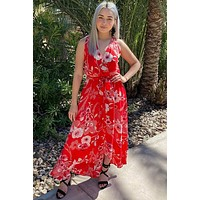Everyday Occasion Vibrant Red Floral Print High-Low Maxi Dress