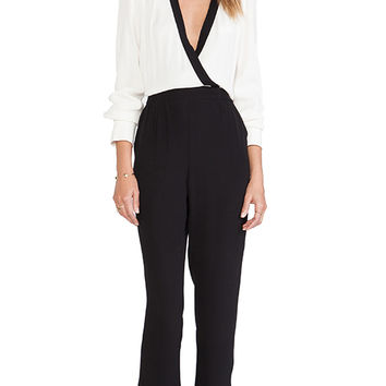 Twelfth Street By Cynthia Vincent Notched Collar Jumpsuit in Black & White