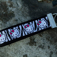 Hello Kitty Zebra Print Key Fob Keychain