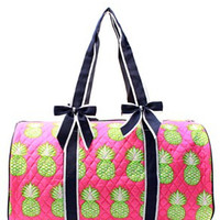 Pineapple Print Quilted Duffel Bag