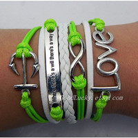 Infinite LOVE Lovers Bracelet--silver 8, LOVE,and anchor bracelet--green wax rope and white Leather braided bracelet