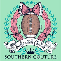 Southern Couture Football Bow Southern Belle of the Ball Girlie Bright T Shirt