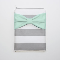 iPad Mini - Kindle - Nook - eReader Case - Gray and White Stripes Mint Bow - Padded