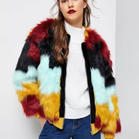 Cut And Sew Faux Fur Coat/ Jacket