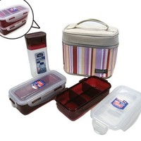 Lock & Lock, Water Tight Lunch Box Set with Water Bottle, HPL754SP, Total 2.8-cups, 24-oz, Red