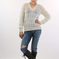 80s white waffle knit sheer v neck sweater