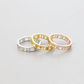 Personalized Lucky Roman Numerals Numbers Ring