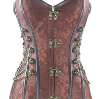 Loi.color Black/red/brown Brocade Steampunk Corset with Chains Full Steel Boned