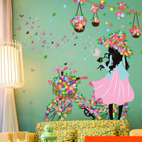 Romantic Butterfly Flower Wall Stickers Home Decor Cycling Girl Removable Decal Bedroom Living Room Decor Art Mural Decoration