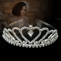 Wedding Bridal Bridesmaid Flower Girls LOVE crystal tiara crown / headband (Color: Silver) = 1932606916
