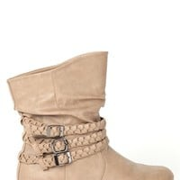Short Flat Ankle Boot with Braided Straps
