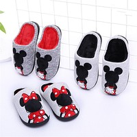 Children's Slippers Cartoon Cotton Rubber Girls Kids Shoes Soft Non-slip Thickening Warm Boys House family Indoor Kids Slippers