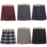 XS-3XL Harajuku 2016 Women Fashion Summer high waist pleated skirt  Wind Cosplay plaid skirt kawaii Female Skirts
