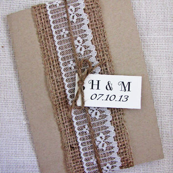 Rustic Country Folded Burlap and Lace with Pocket Wedding Invitation Sample listing