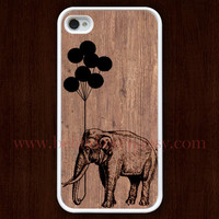 wood iPhone 4 Case, iphone 4s case, Balloon elephant iphone 4 case, iPhone Hard Case