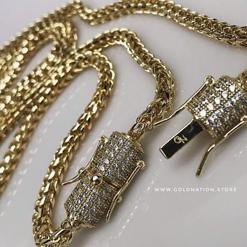 4mm Franco Snake Chain Necklace Jewelry Set (Diamond Lock) by Gold Nation