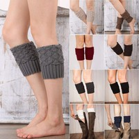 Women Winter Warm Knit Leg Warmer Crochet Knitted Ankle Socks Boot Cuffs Toppers