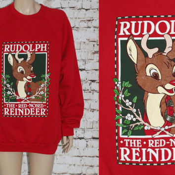 90s Sweatshirt Rudolph The Red Nosed Reindeer Ugly Christmas Sweater Red Distressed Grunge Punk Hipster 80s Graphic Tshirt T Shirt XL L M