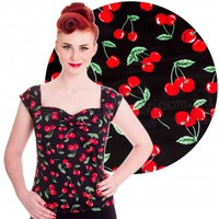 Hell Bunny Cherry Pie Rockabilly Pin Up Top   Free Shipping