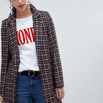 River Island boucle tailored coat in check at asos.com
