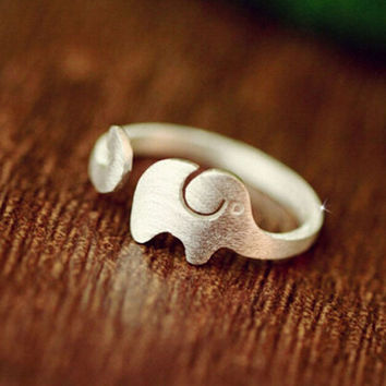 Tiny Elephant Opening Ring Handmade Cat Kitty Silver Plated Rings Perfect Jewery Gift